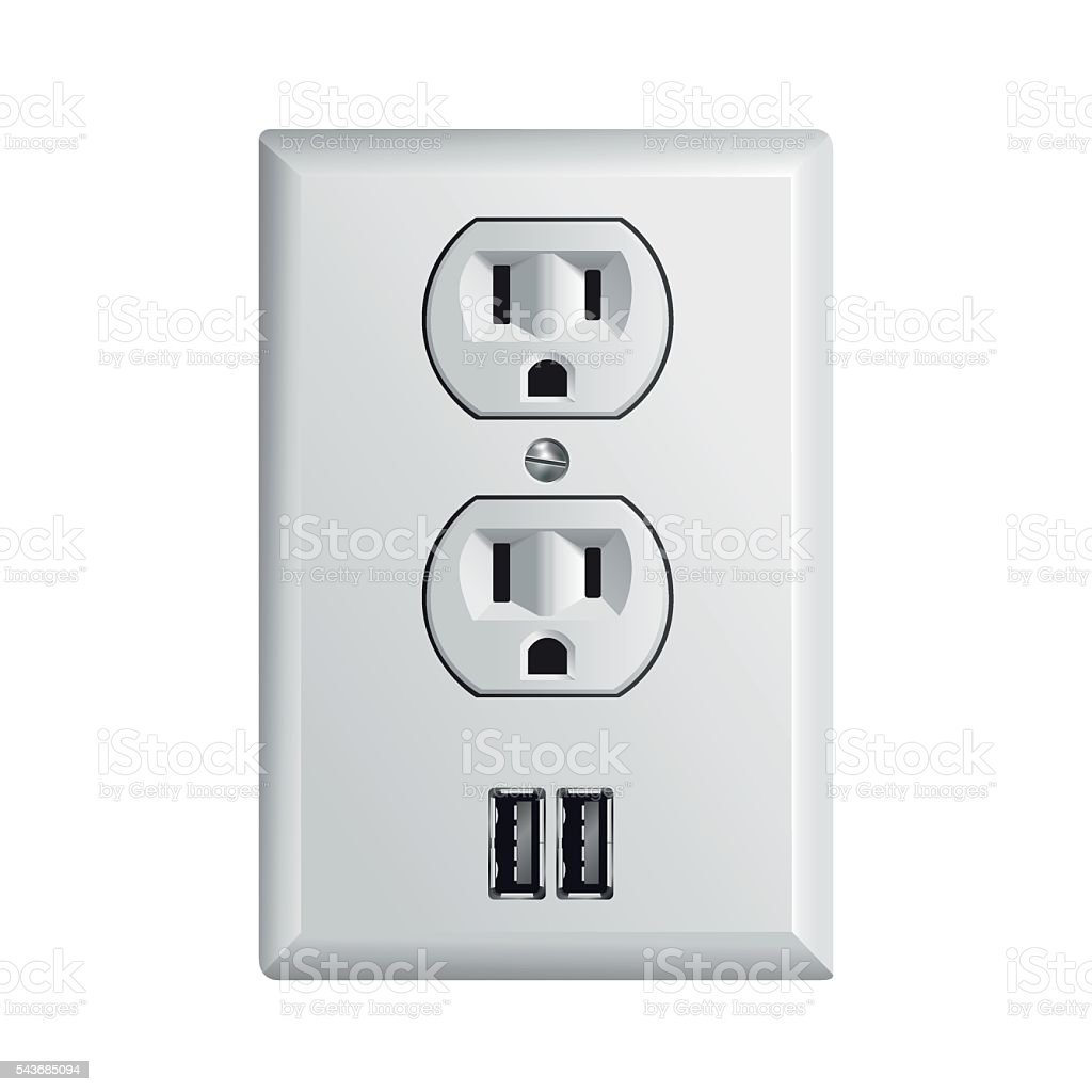 Electrical power socket with USB vector art illustration