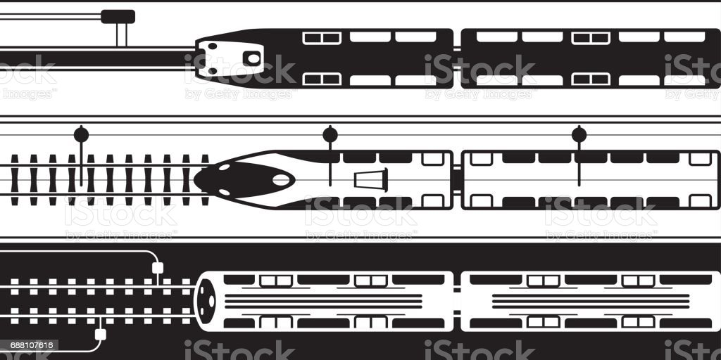 Electrical rail trains from above vector art illustration