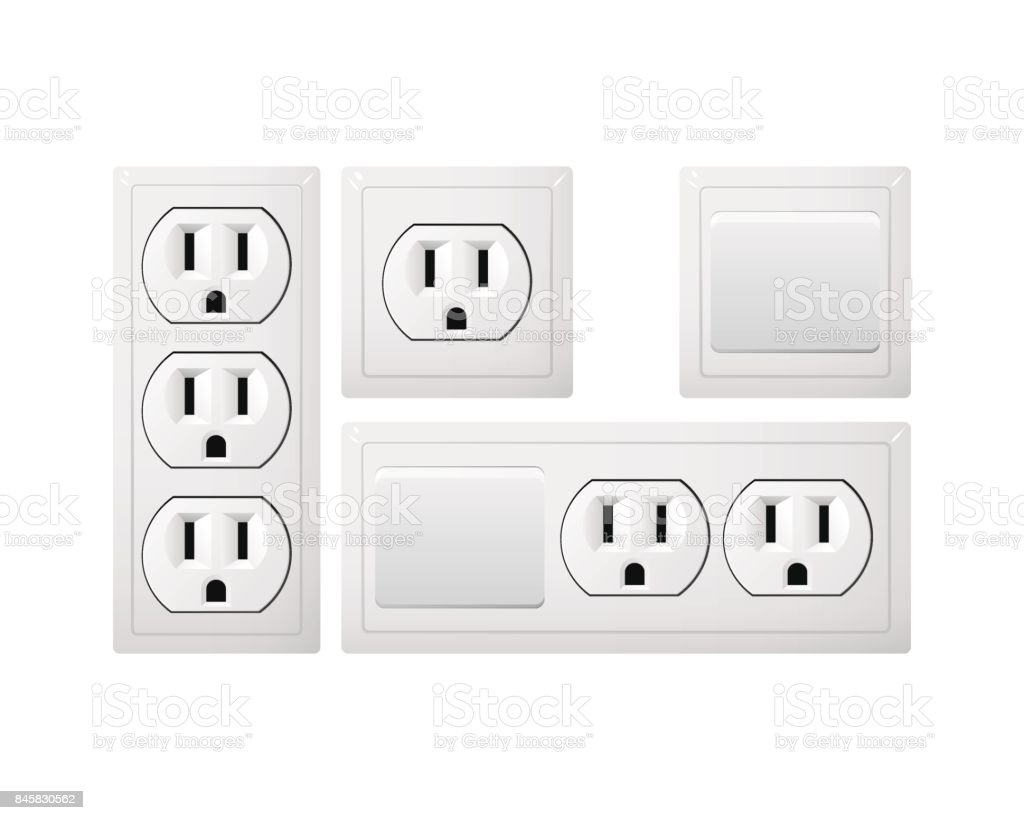 Electrical socket Type B with switch. Power plug. Receptacle from USA. vector art illustration