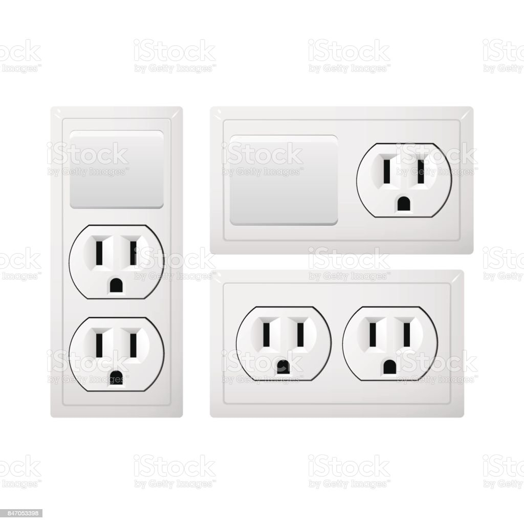 Electrical socket Type B with switch. Realistic receptacle from USA and Japan. The lights handle button on and off. vector art illustration