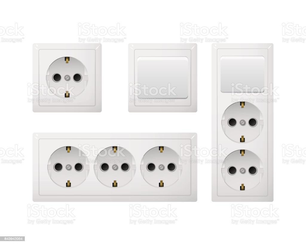 Electrical socket Type F with switch. Power plug. Realistic receptacle from Europe and Russia. vector art illustration