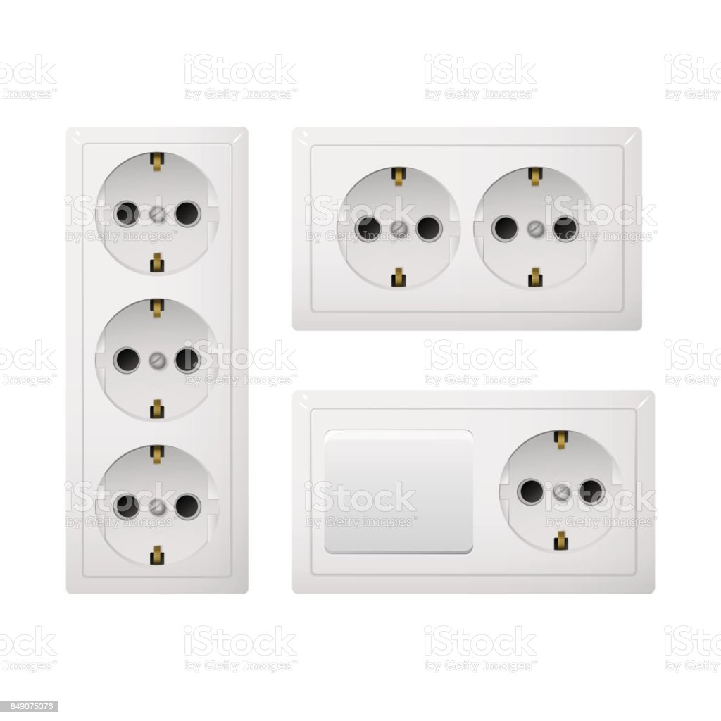Electrical socket Type F with switch. vector art illustration