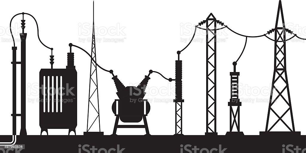 Electrical substation scene vector art illustration