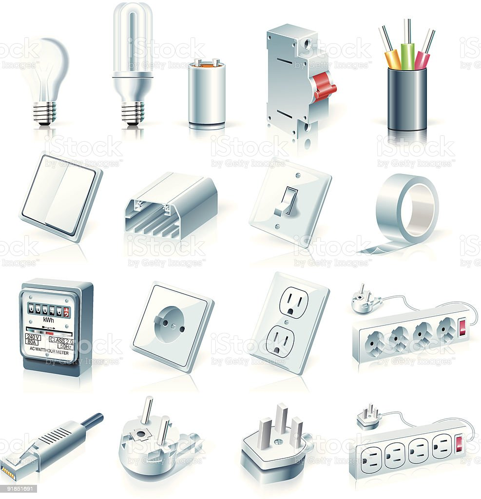 Electrical supplies icon set vector art illustration