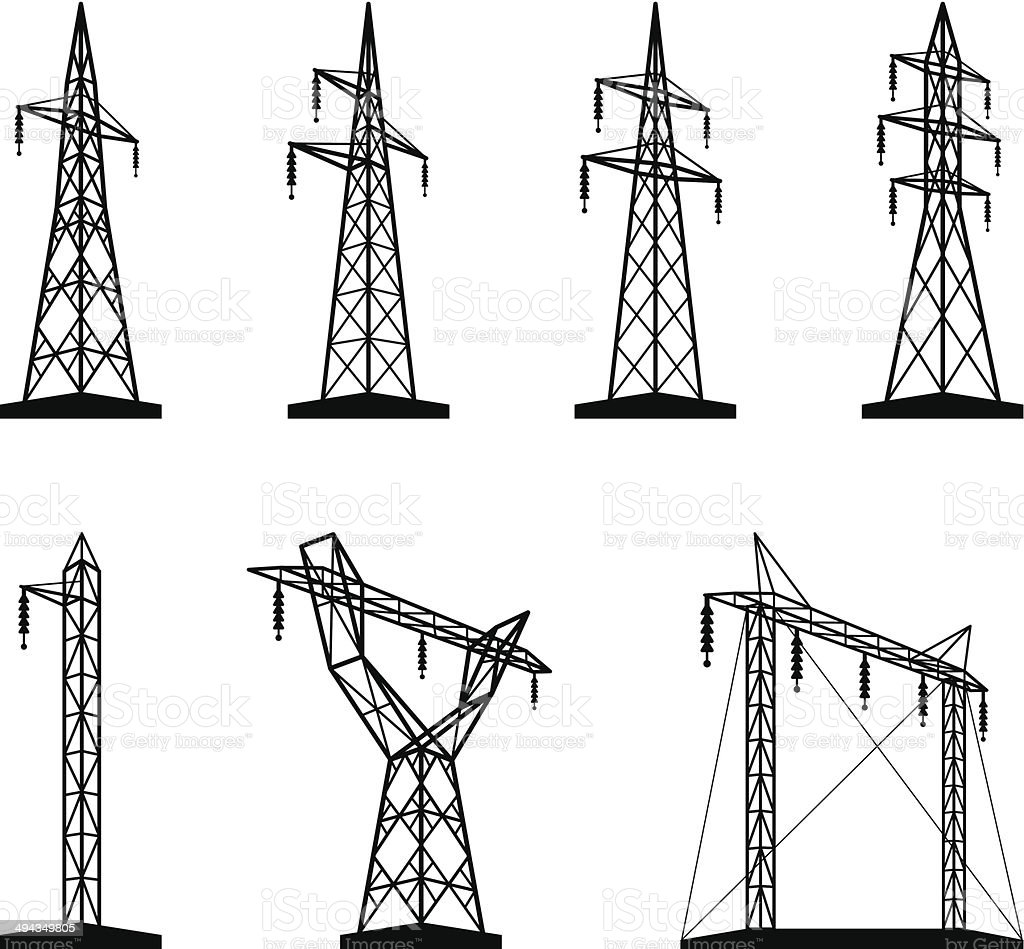Electrical transmission tower types in perspective vector art illustration