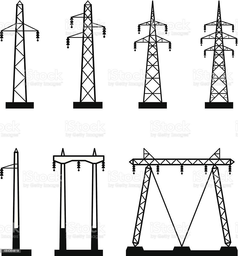 Electrical transmission tower types vector art illustration