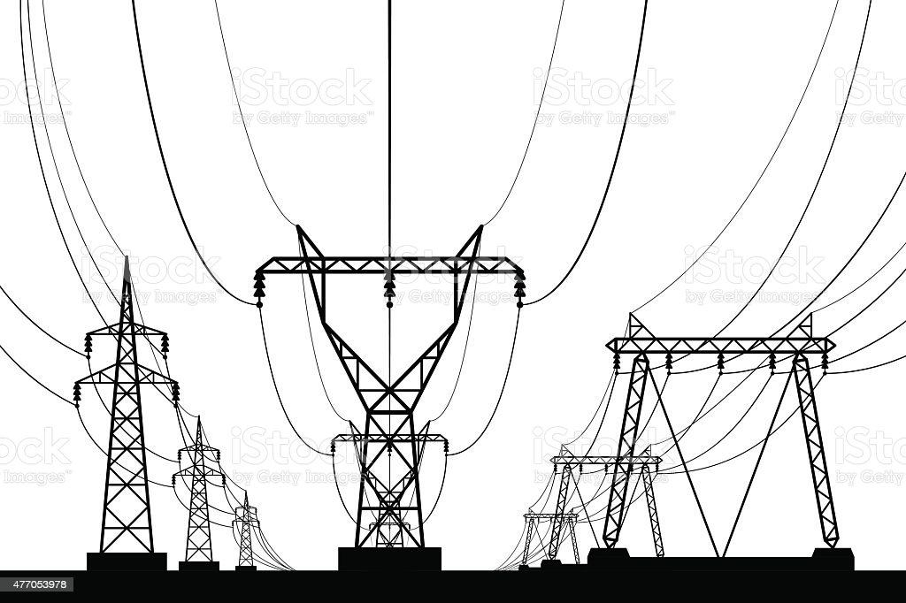 Electrical transmission towers in perspective vector art illustration