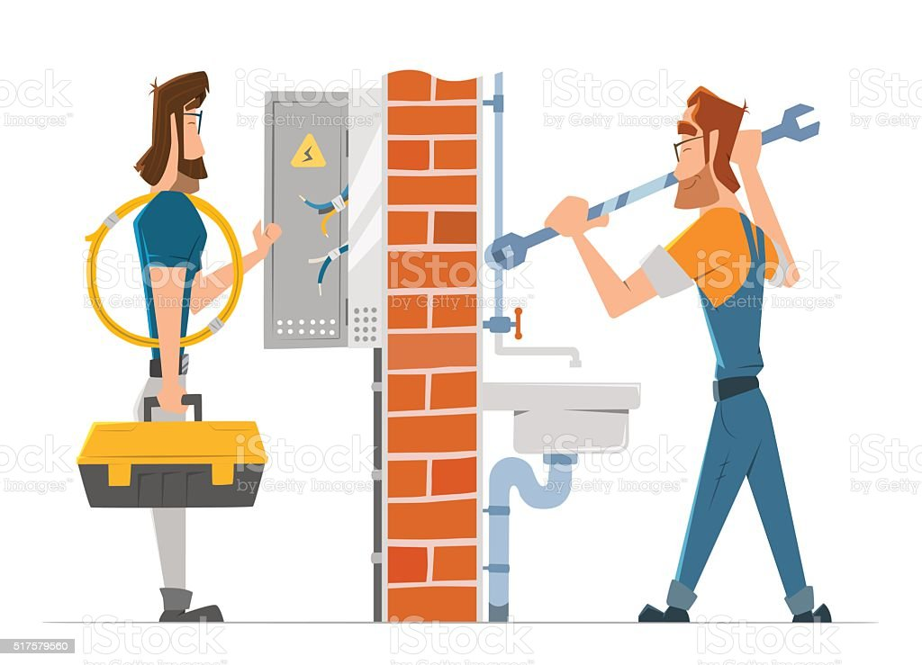 Electrician and plumber man working. Home house repair service. vector art illustration
