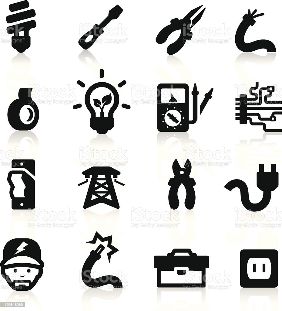 Electrician icons set - Elegant series royalty-free stock vector art
