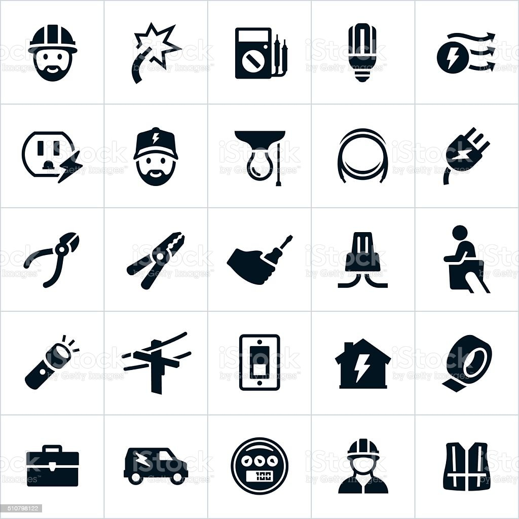 Electrician Icons vector art illustration