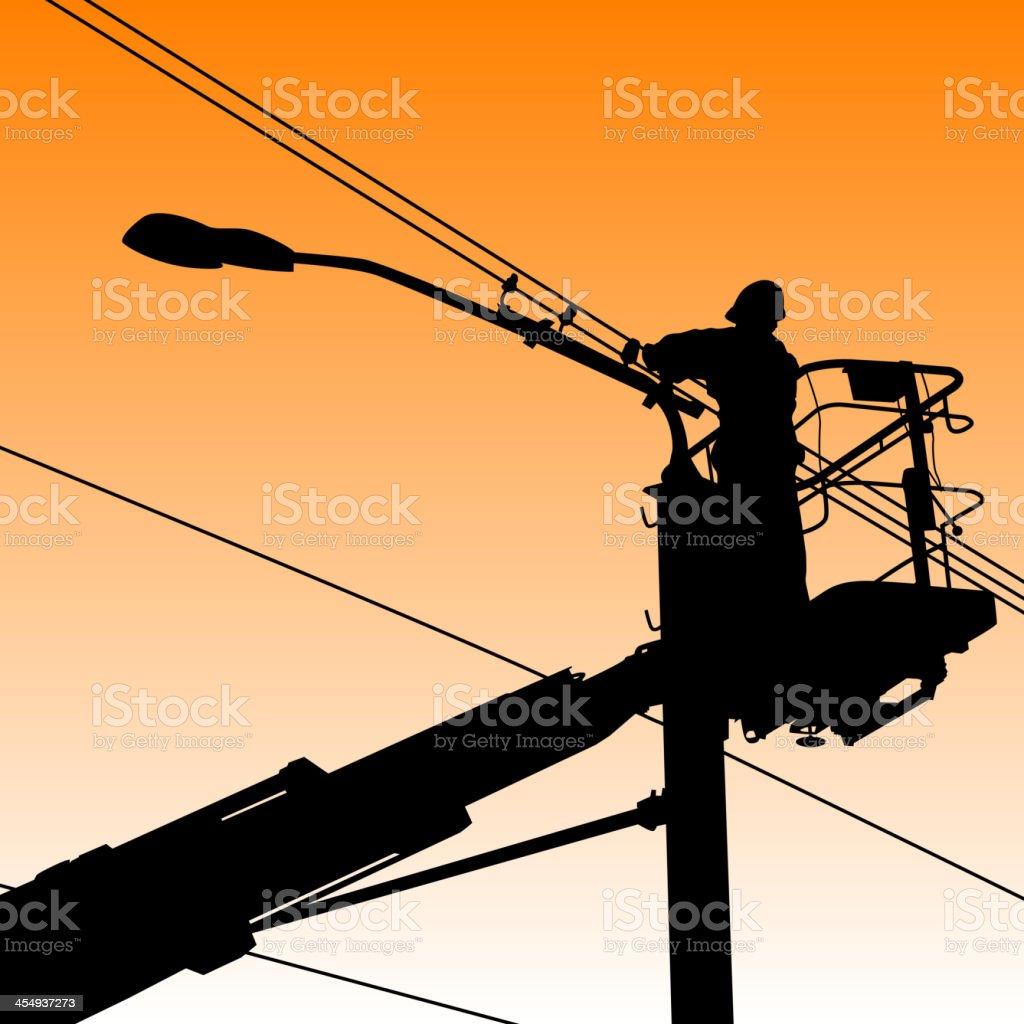 Electrician on platform fixing streetlight in silhouette vector art illustration