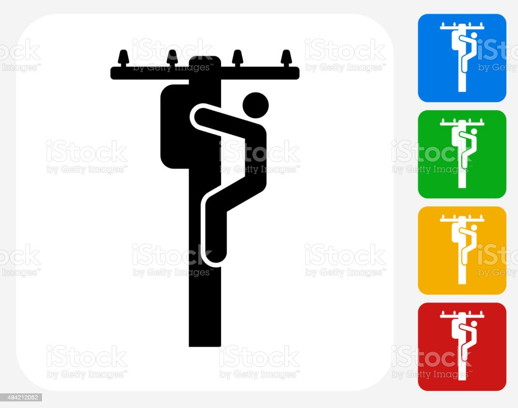 Electrician on Pole Icon Flat Graphic Design vector art illustration