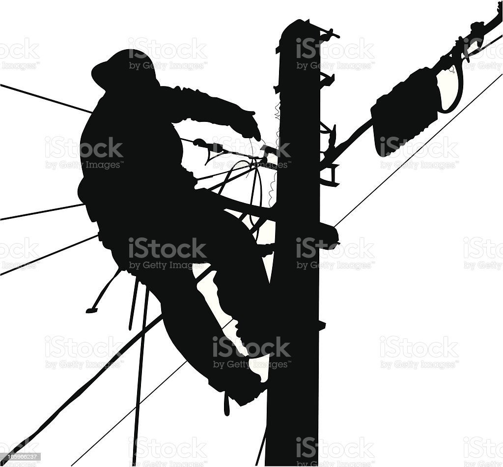 Electrician Silhouette Working in a Pole vector art illustration
