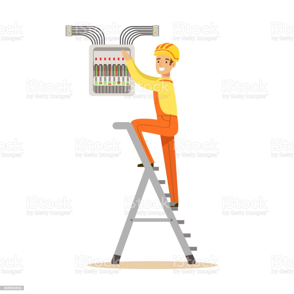 electrician standing on a stepladder and screwing equipment in How A Fuse Box Works electrician standing on a stepladder and screwing equipment in fuse box, electric man performing electrical how a fuse box works