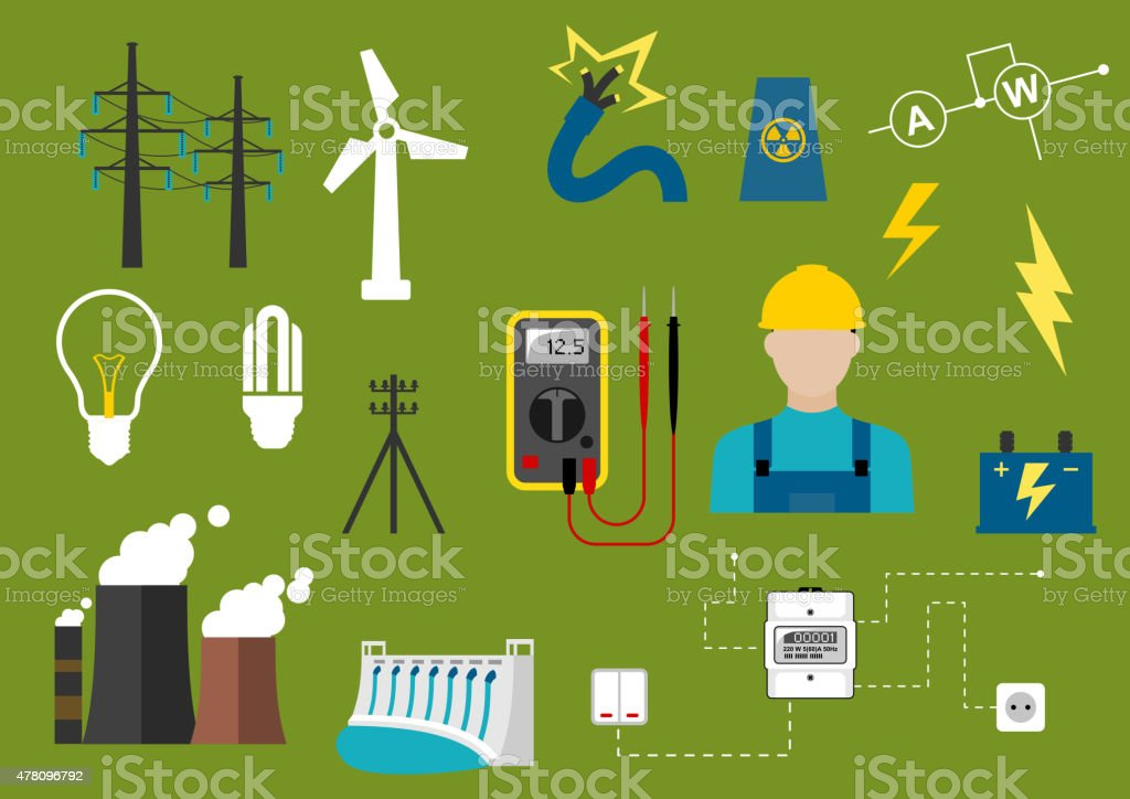 Electricity and engineering flat icons vector art illustration