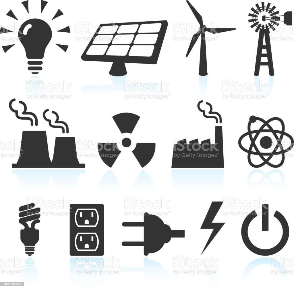 electricity and power generation black & white vector icon set vector art illustration