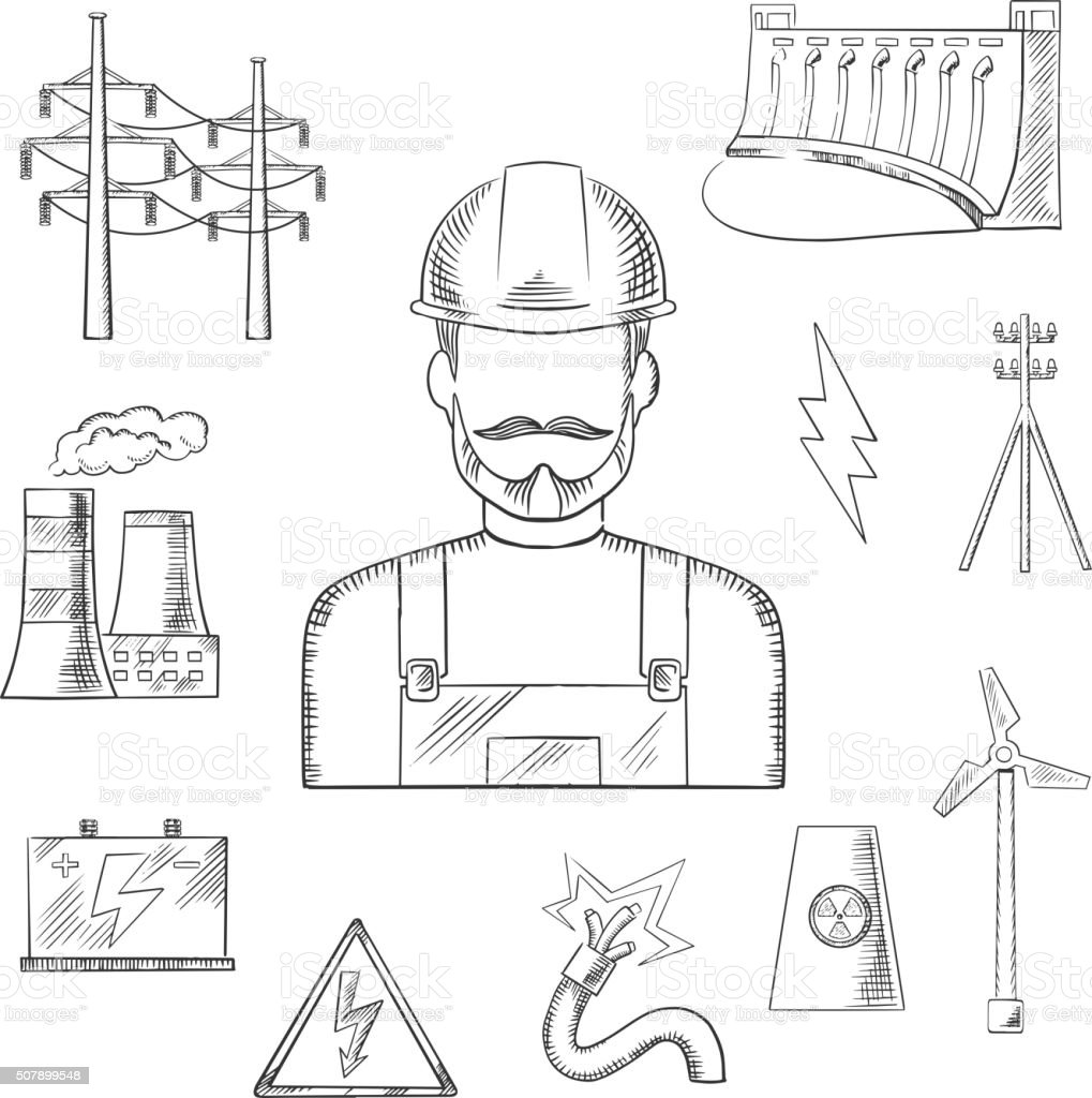 Electricity and power industry icons sketches vector art illustration