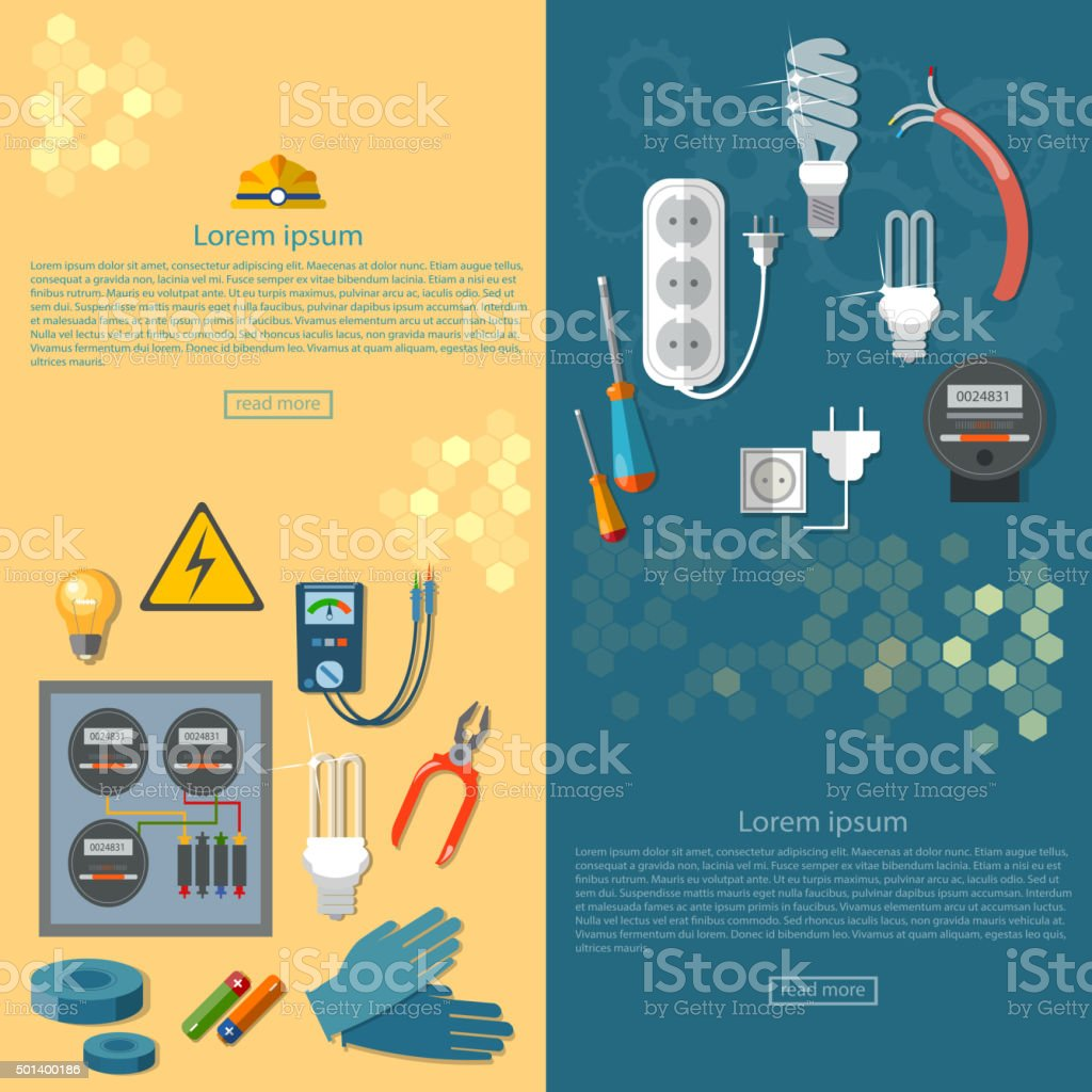 Electricity banners electrician tools vector art illustration