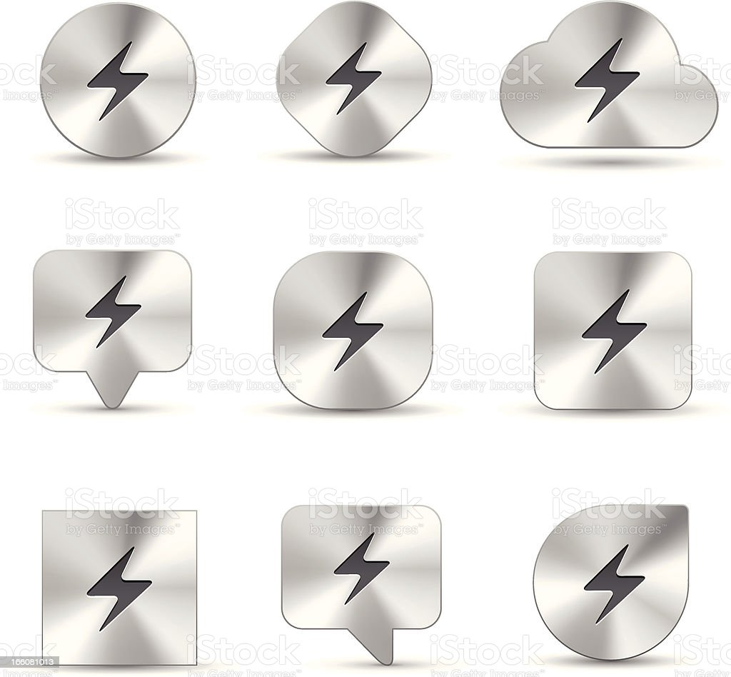 Electricity Brushed metal icons royalty-free stock vector art