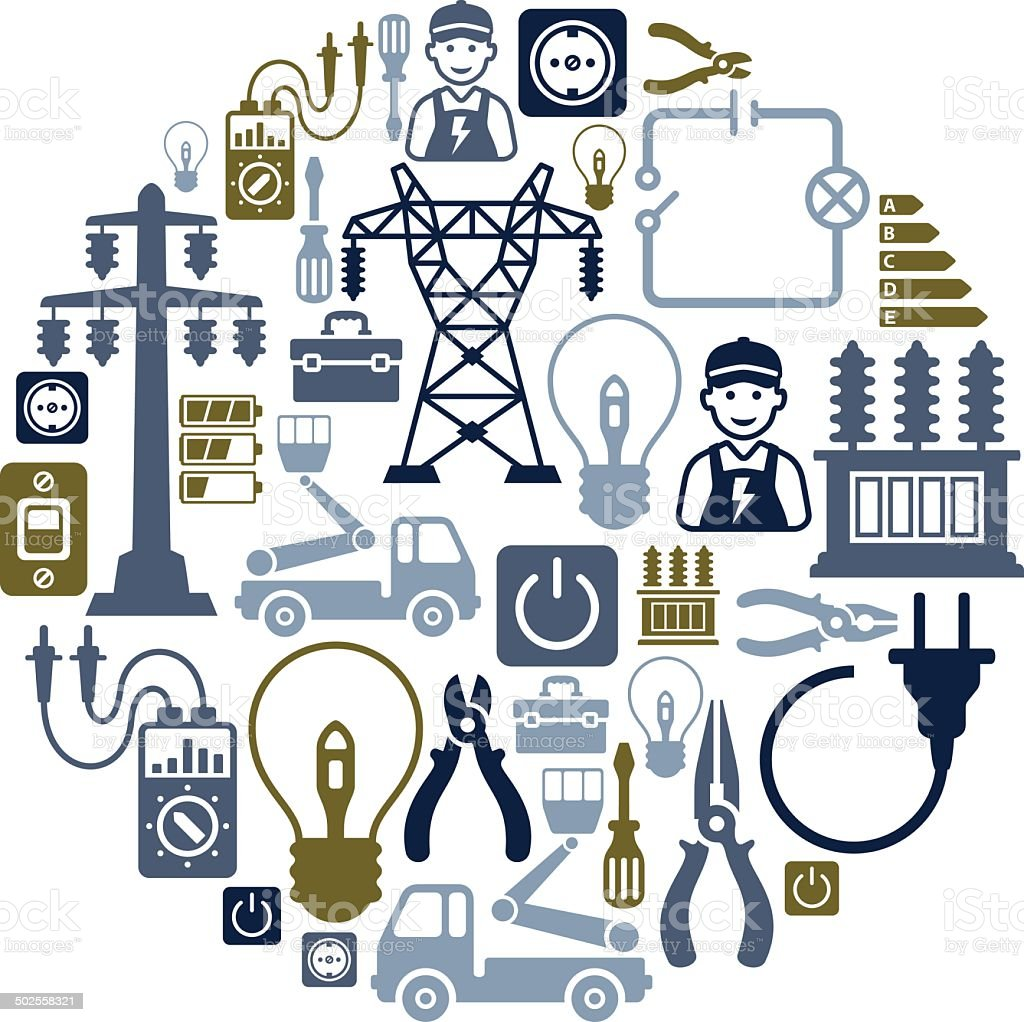 Electricity Collage vector art illustration