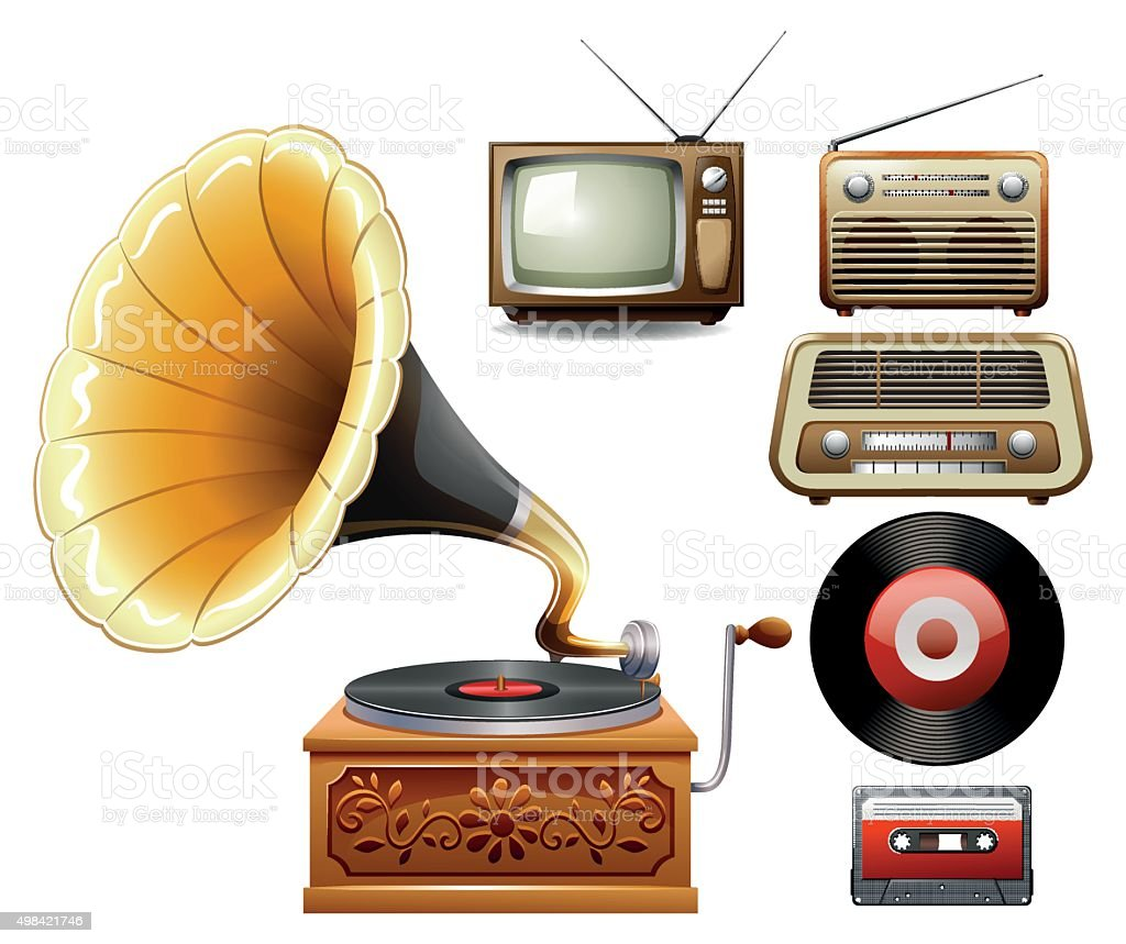 Electricity devices  old time vector art illustration