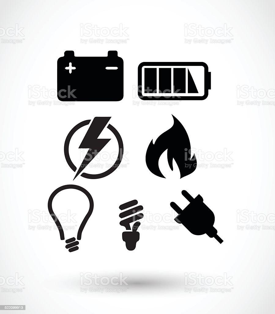Electricity icon set vector illustration vector art illustration
