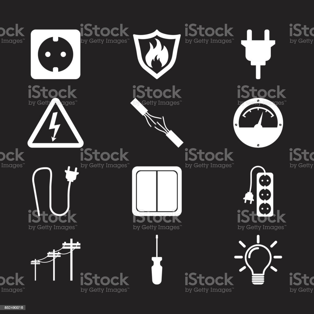 Electricity icon. Vector illustration in flat style on black background vector art illustration