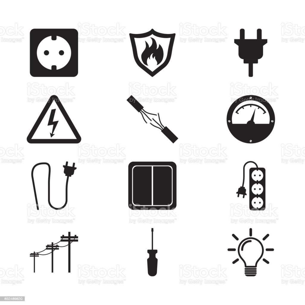 Electricity icon. Vector illustration in flat style on white background vector art illustration