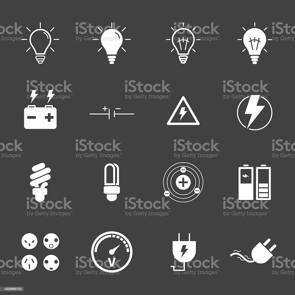Electricity icons set.vector. vector art illustration