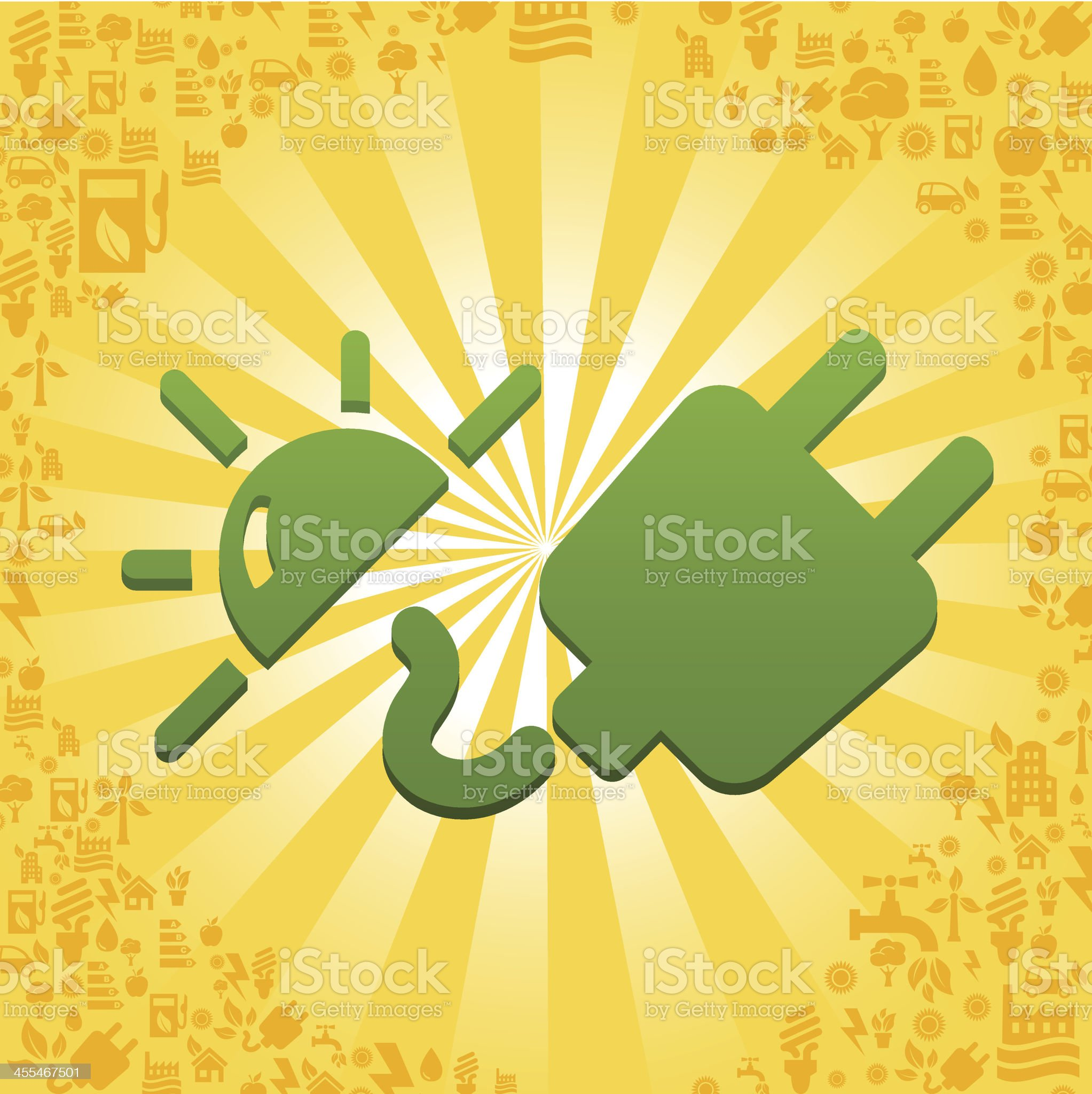Electricity illustration with ecology icons royalty-free stock vector art