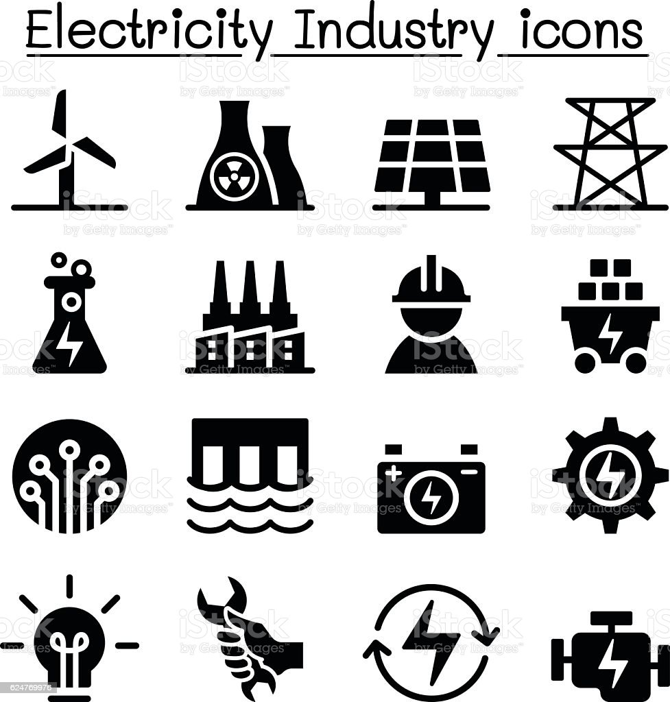 Electricity industry icon vector art illustration