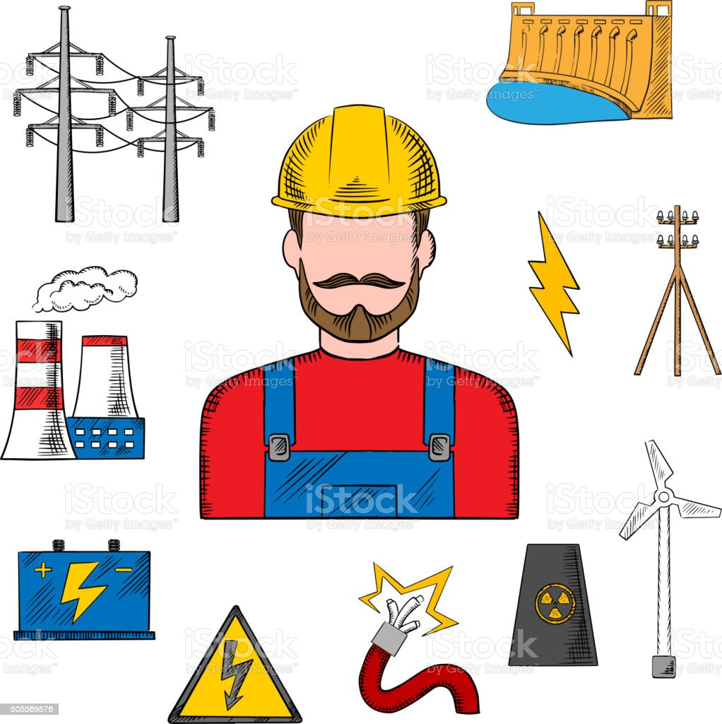 Electricity industry sketch with power icons vector art illustration