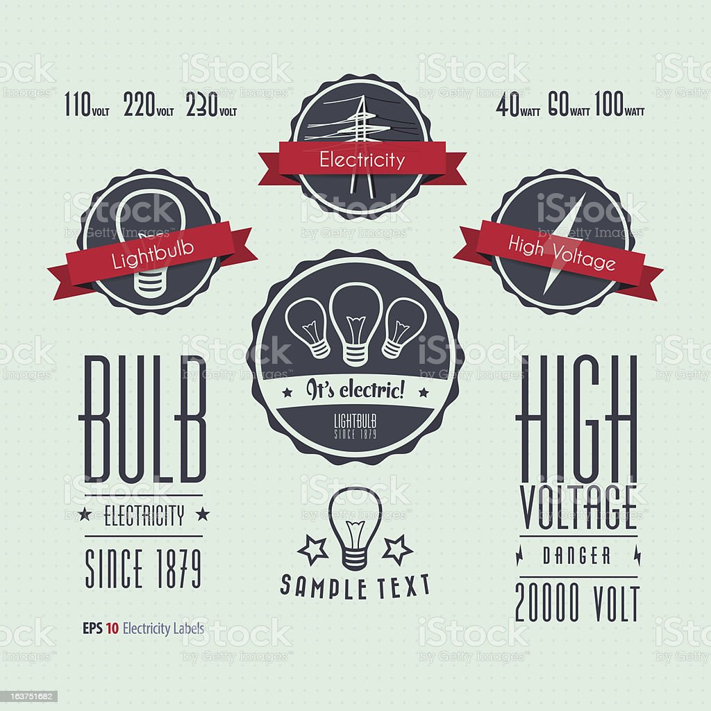 Electricity labels royalty-free stock vector art