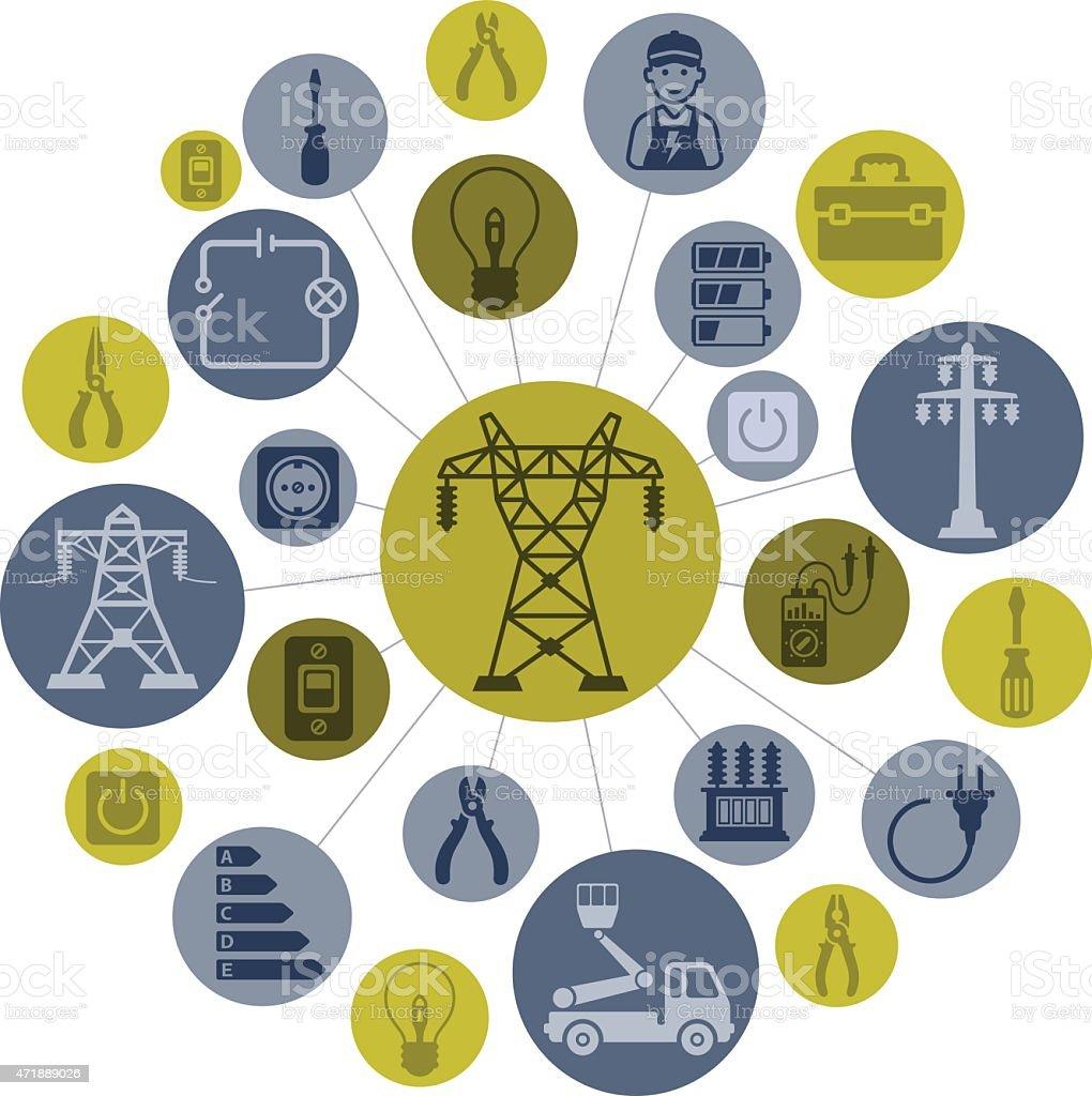 Electricity Montage vector art illustration