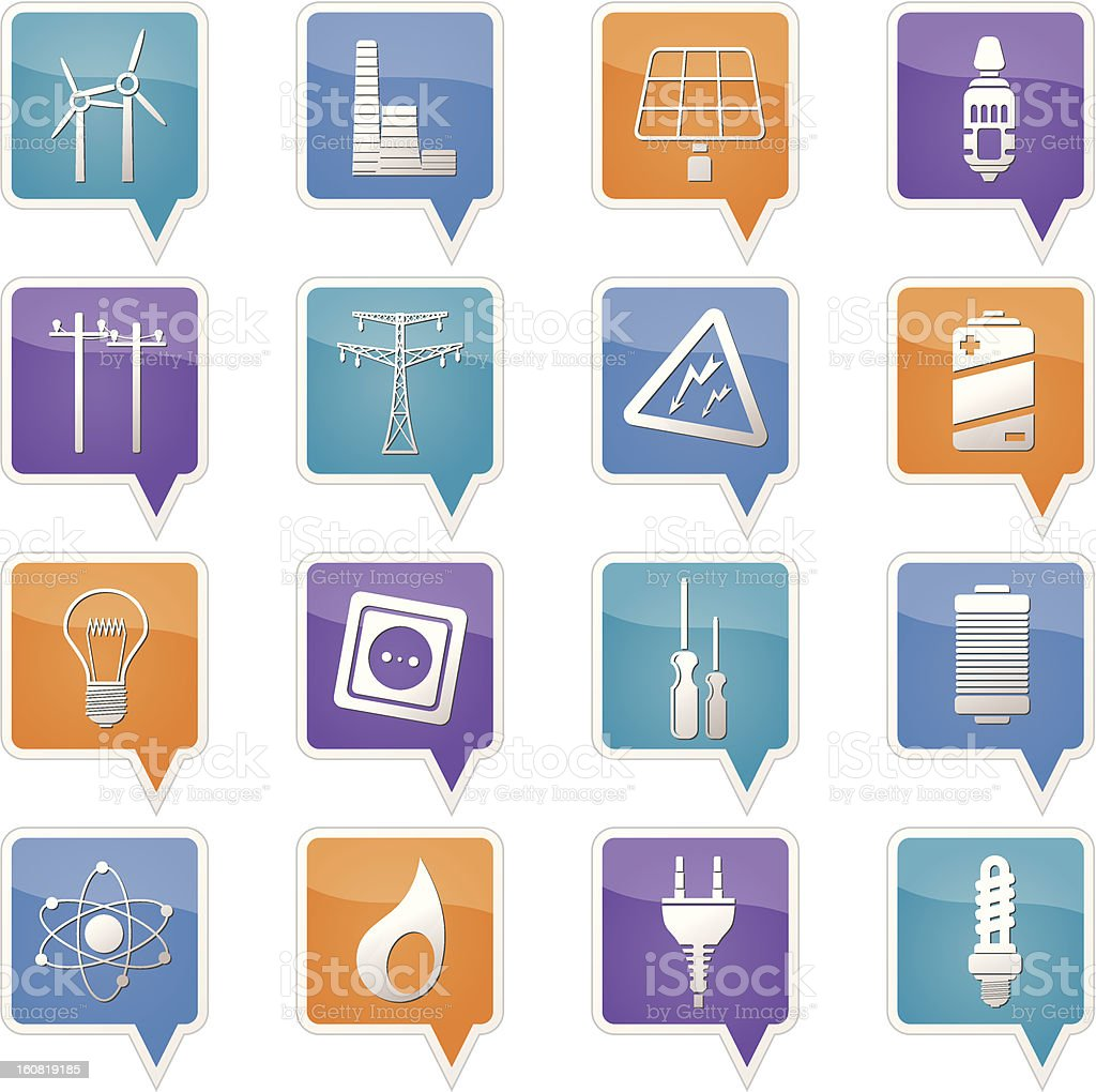 Electricity, power and energy icons royalty-free stock vector art