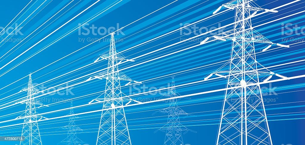 Electricity power lines vector art illustration