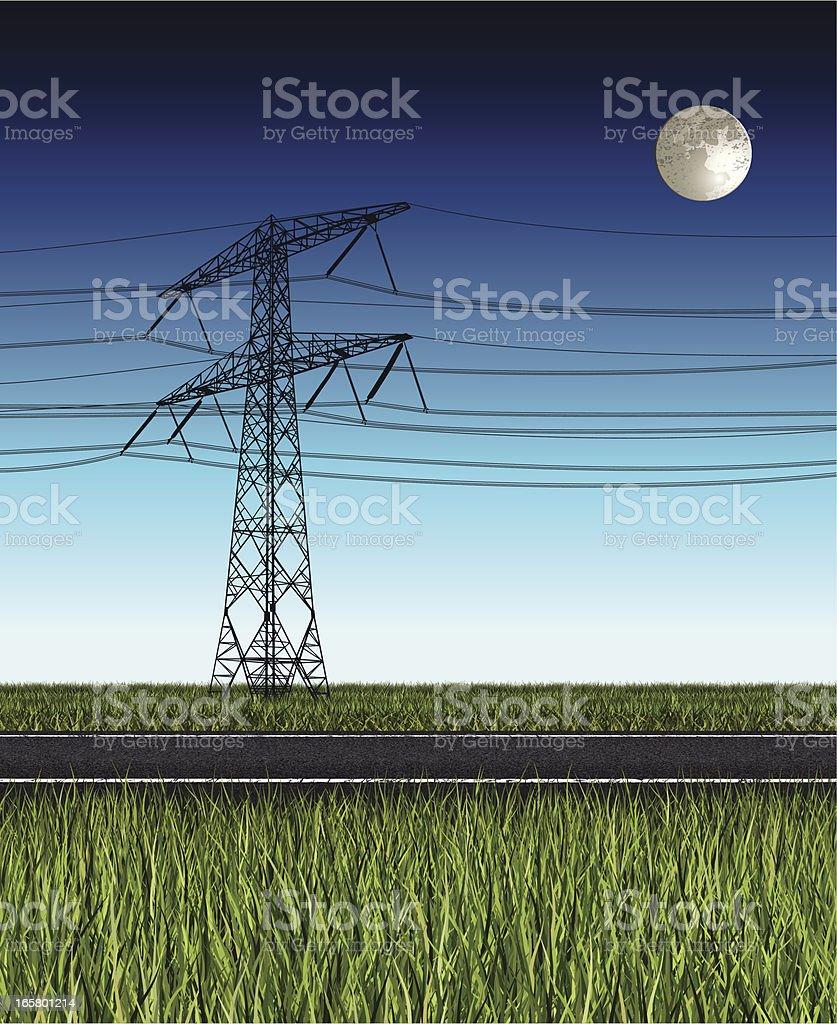 electricity pylon at night royalty-free stock vector art