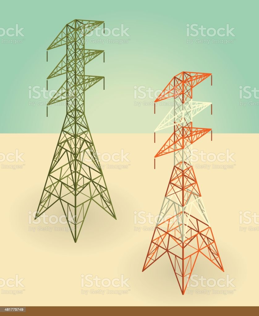 electricity pylons royalty-free stock vector art