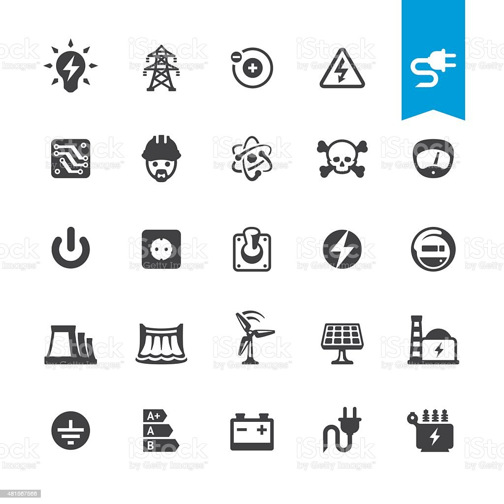 Electricity related vector icons vector art illustration