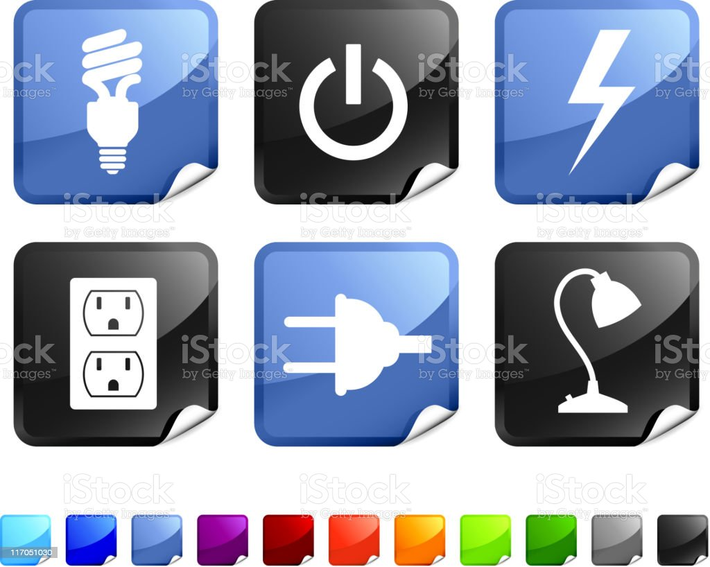 Electricity royalty free vector arts on sticker royalty-free stock vector art