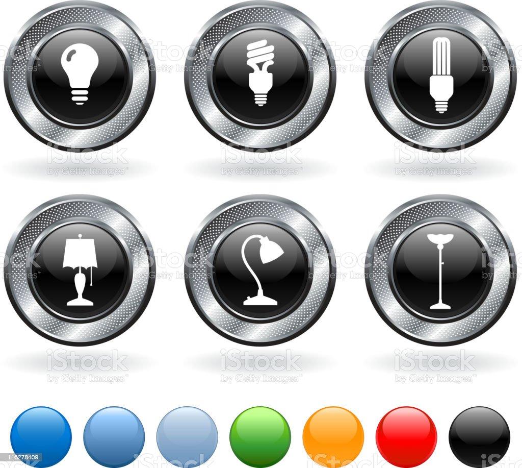 Electricity royalty free vector icon set on metallic button royalty-free stock vector art