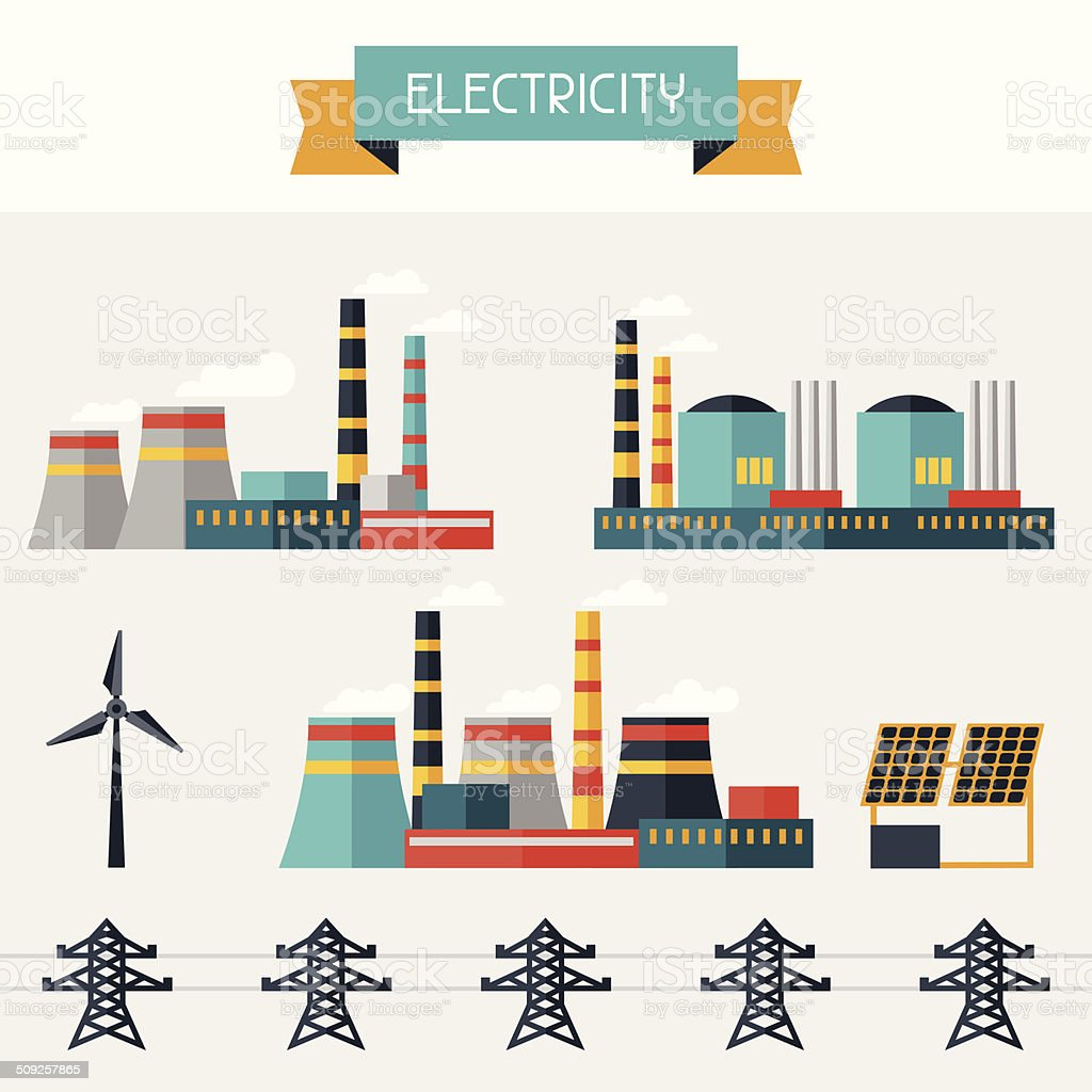 Electricity set of industry power plants in flat design style. royalty-free stock vector art