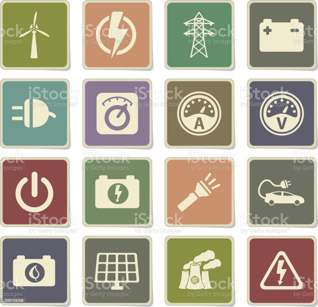 Electricity simply icons vector art illustration