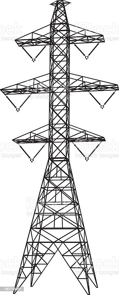 Electricity transmission tower silhouette vector art illustration