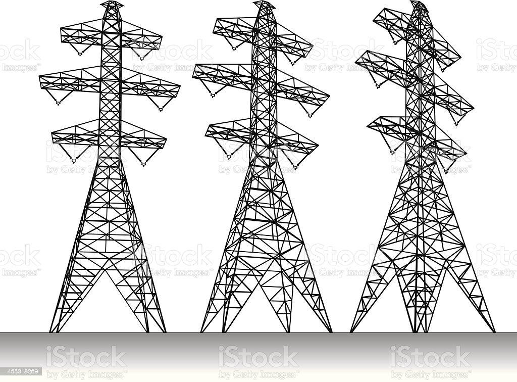 Electricity transmission tower royalty-free stock vector art