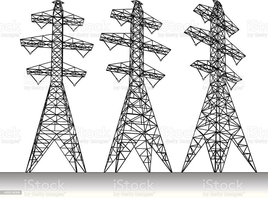 Electricity transmission tower vector art illustration