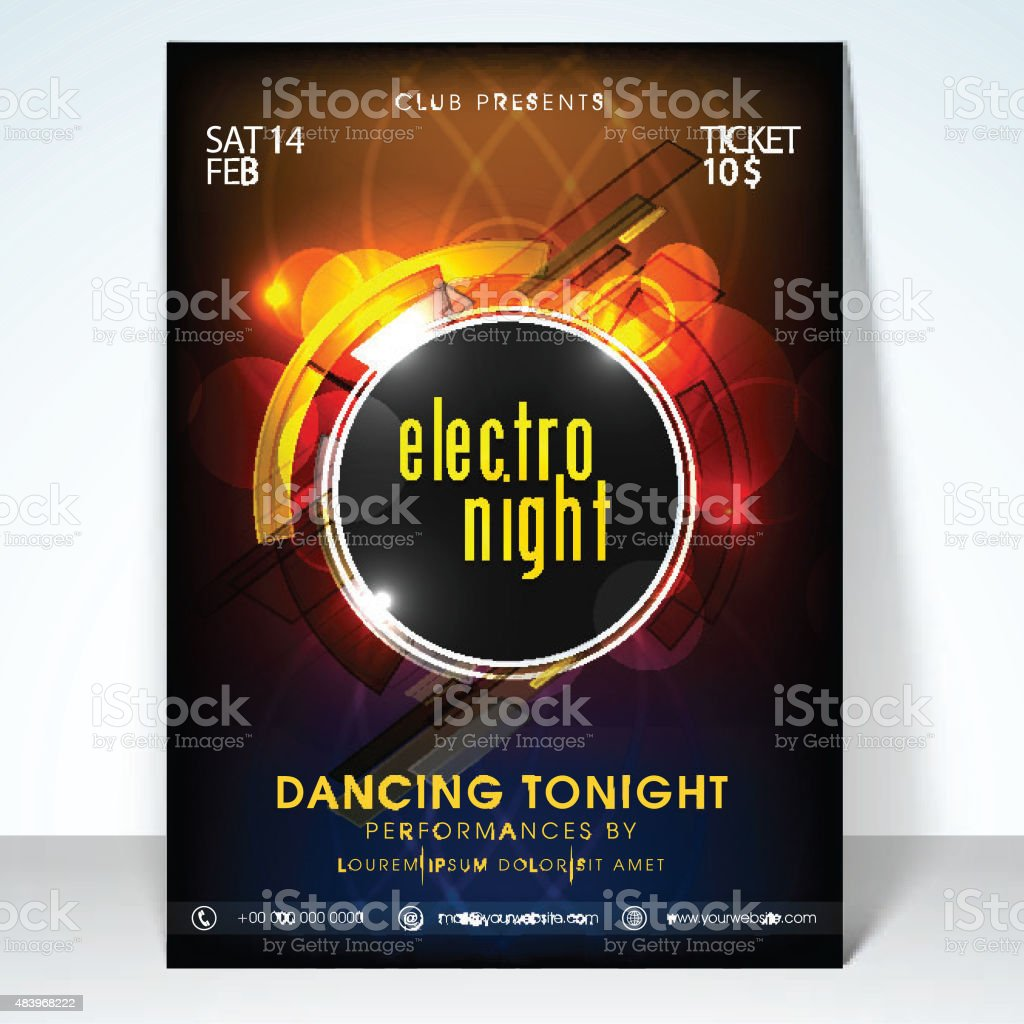 Electro night party celebration flyer. vector art illustration