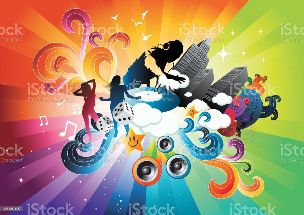 Electro Rainbow Blast royalty-free stock vector art