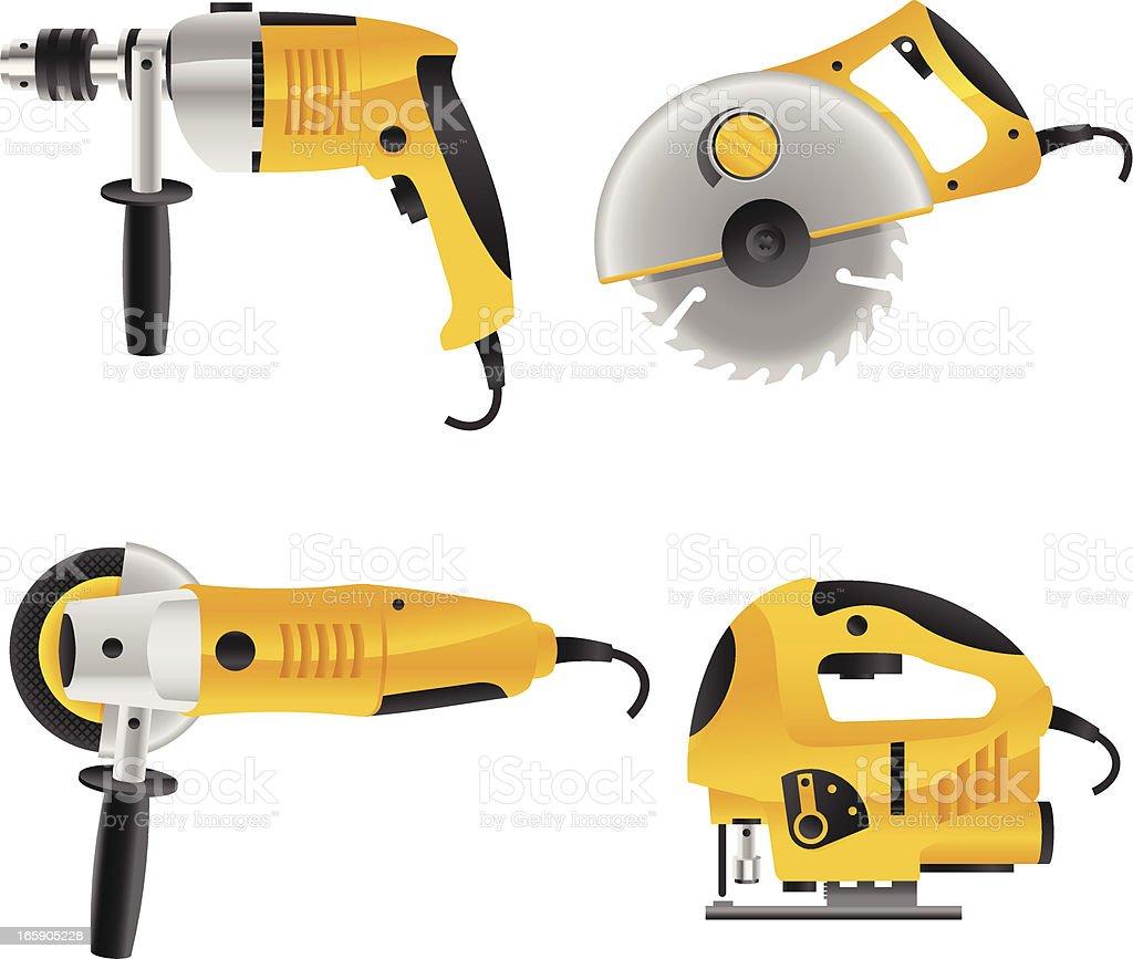 electro tools vector art illustration
