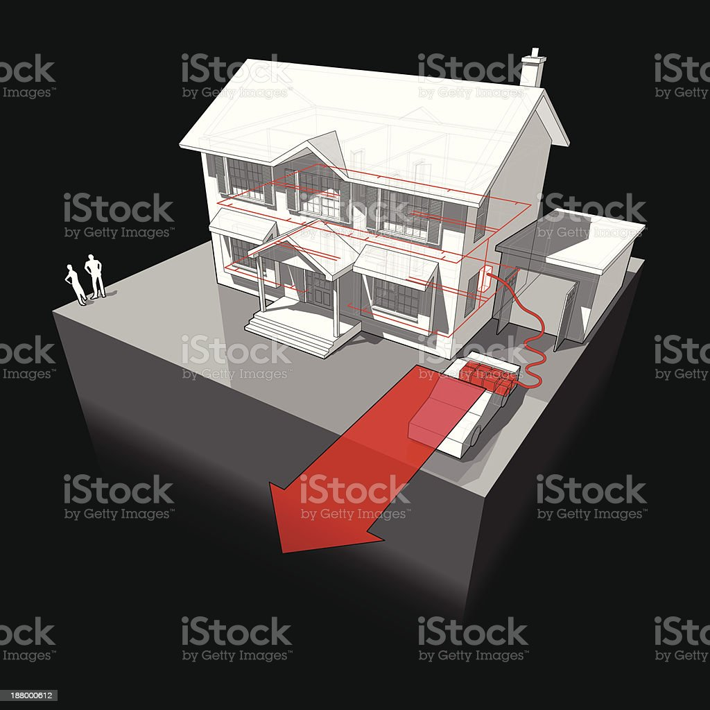 electrocar powered by detached house diagram vector art illustration